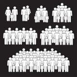 As famílias aglomeram-se no fundo preto ilustração do vetor
