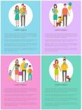 As famílias ajustaram-se do pai Daughter Son da mãe dos cartazes ilustração stock