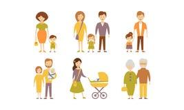 As famílias diferentes ajustam-se, serem-se de mãe, genam-se, filho, filha, ilustração do vetor das avós em um fundo branco ilustração royalty free