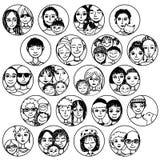 As famílias, pares, amigos, irmãos, escolhem multicultural, multi-étnico, misturado & retalhos ilustração stock
