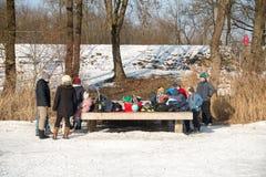 As famílias vão patinagem no gelo em um lago congelado imagens de stock