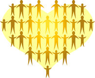 As famílias dão forma a um Heart/ai dourado Foto de Stock Royalty Free