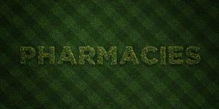As FARMÁCIAS - letras frescas da grama com flores e dentes-de-leão - 3D renderam a imagem conservada em estoque livre dos direito Fotos de Stock