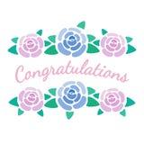As felicitações assinam com rosas, flores florescem cartão, ilustração do vetor fotografia de stock