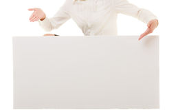 As. Female hand showing blank copy space banner Royalty Free Stock Image