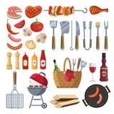 As ferramentas especiais e o alimento diferentes para o assado party Vegetais, carne, bife e salsicha grelhados ilustração royalty free