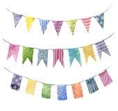 As festões brilhantes das bandeiras da cor da aquarela ajustaram-se com ornamento: listra, às bolinhas, espiral Partido, partido  ilustração do vetor