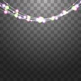 As festões festivas ajustaram-se das decorações com luzes brilhantes multicoloridos, efervescência que brilha Vetor das ampolas d ilustração stock