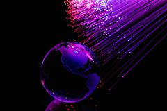 As fibras óticas iluminam o fundo abstrato, fundo ótico da fibra imagem de stock royalty free