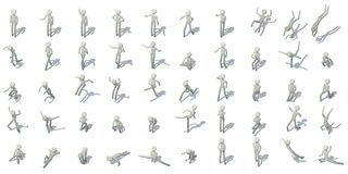 As figuras ícones do homem da vara ajustaram-se, estilo isométrico ilustração stock