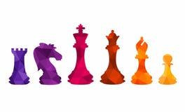 As figuras coloridas da xadrez remendam a ilustração do vetor do jogo de competiam ilustração royalty free