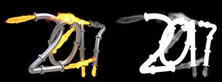 As figuras desde 2017 como o estouro conduzem com fogo Foto de Stock