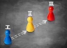 As figuras do jogo simbolizam três etapas ou marcos miliários no backgr do giz imagens de stock royalty free