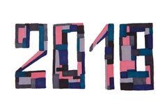 As figuras do ` s do ano novo figuram 2018 cinzentos e cor cor-de-rosa a sagacidade tirada Fotos de Stock Royalty Free