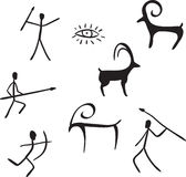 As figuras primitivas olham como a pintura de caverna Fotografia de Stock