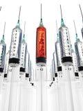 As fileiras múltiplas das seringas, uma encheram-se com o sangue Foto de Stock Royalty Free