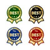 As fitas concedem o melhor grupo de etiqueta do preço Fundo branco isolado ícone da concessão da fita do ouro E ilustração stock