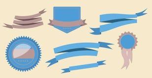 As fitas e a etiqueta retros ajustadas vector a ilustração Foto de Stock Royalty Free
