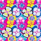 As flores abstratas brilhantemente coloridas em um teste padrão sem emenda do fundo preto vector a ilustração ilustração stock