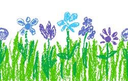 As flores azuis do pastel de cera com grama verde como a arte do ` s da criança entregam tirado ilustração do vetor