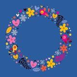 As flores, corações, pássaros amam o fundo do quadro do círculo da natureza Foto de Stock