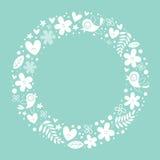 As flores, corações, pássaros amam o fundo do quadro do círculo da natureza Foto de Stock Royalty Free