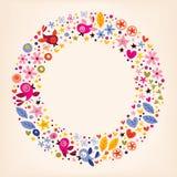 As flores, corações, pássaros amam o fundo retro do quadro do círculo da natureza Imagens de Stock Royalty Free