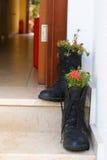 As flores crescem nas botas fotografia de stock
