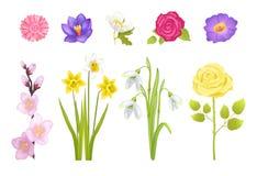 As flores da mola ajustaram a ilustração do vetor do cartaz Imagem de Stock Royalty Free