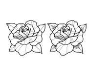As flores da tatuagem ajustaram o trabalho do ponto ilustração do vetor