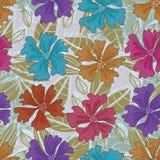 As flores das cores esquadram o teste padrão sem emenda ilustração stock