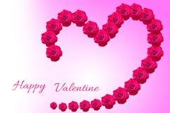 As flores de Rosa arranjam à forma do coração Imagem de Stock Royalty Free