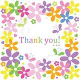 As flores e as borboletas dos corações agradecem-lhe cardar Imagem de Stock