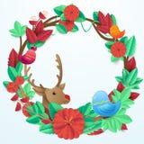 As flores e as folhas circundam o quadro da forma com os pássaros e a rena Fotografia de Stock