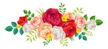 As flores e as folhas bonitas da peônia vector o elemento floral da decoração no fundo branco Fotos de Stock Royalty Free
