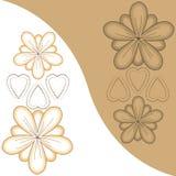 As flores e os corações com fundo-contrastam Foto de Stock