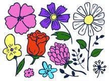 As flores entregam a ilustração tirada do vetor do grupo de elemento ilustração do vetor