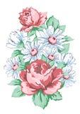 As flores entregam o projeto tirado, floral do bordado, cópia da tela, vector o ornamento floral Composição da flor do desenho da Fotografia de Stock Royalty Free