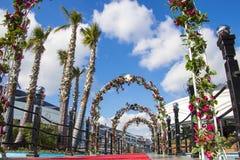 As flores escavam um túnel e palmeiras na cidade no céu azul nebuloso imagens de stock royalty free