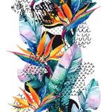 As flores exóticas, folhas, forma lisa da curvatura encheram-se com a garatuja, mínima, textura do grunge abstraia o fundo ilustração do vetor