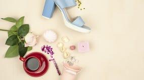 As flores, marshmallows, cor de creme, aumentaram, sapata no fundo pastel Ainda vida 1 Fotografia de Stock