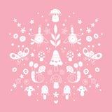 As flores, os pássaros, os caracóis, as borboletas e a natureza dos cogumelos vector a ilustração Foto de Stock Royalty Free