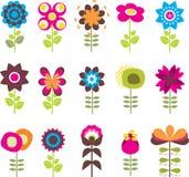 As flores retros ajustaram-se ilustração do vetor