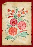 As flores são desenhadas em um papel velho ilustração royalty free