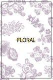 As flores selvagens florescem fundo do ramo Ilustração tirada do vintage mão botânica Projeto do vetor Pode usar-se para cumprime foto de stock royalty free