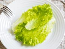 As folhas da salada verde em uma placa branca, cutelaria Foto de Stock