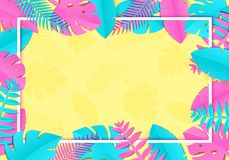 As folhas de palmeira tropicais do verão, plantas no papel trandy cortaram o estilo Quadro retangular horizontal branco no rosa a Fotos de Stock