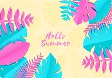 As folhas de palmeira tropicais do verão, plantas no papel trandy cortaram o estilo O rosa azul exótico sae no fundo ensolarado a Fotografia de Stock Royalty Free