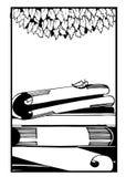 As folhas de papel livros saem silhueta do quadro gráfico para o texto Foto de Stock Royalty Free
