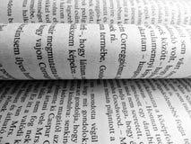 As folhas do livro fecham-se acima do fundo do texto das letras das palavras das páginas Fotografia de Stock Royalty Free